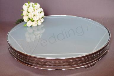 Wedding Round Frosted Glass 22 inch Cake Stand - Hire - Wedding Wish Image 1