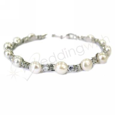 Wedding Elegant Fresh Water Pearl and Diamante Bracelet - Wedding Wish Image 1