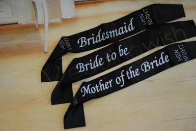 Wedding Hens Party Black Satin Sashes - Wedding Wish Image 1