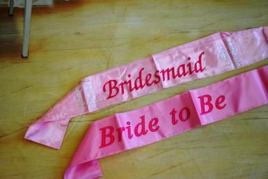 Wedding  Hens Party Pink Budget Satin Sashes Image 1