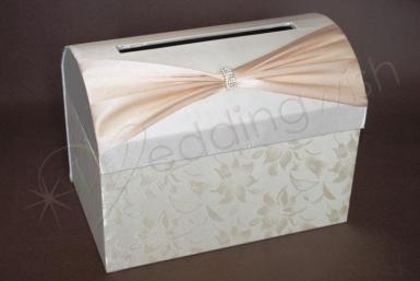 Wedding Ivory and Cream Satin Treasure Chest with Floral Detail - Wedding Wish Image 1