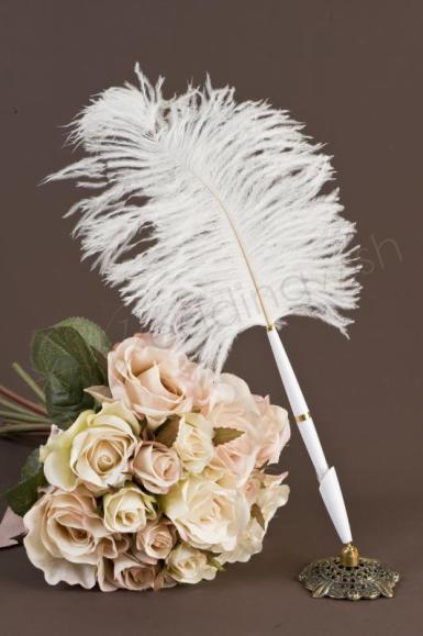 Wedding Antique Look Feather Pen - Wedding Wish Image 1