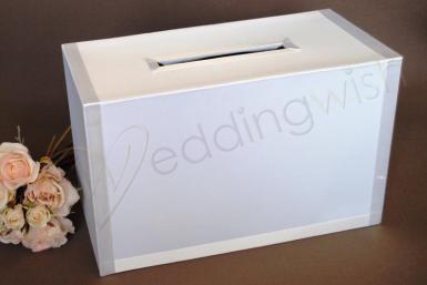 Wedding Rectangular Satin Wedding Card Keeper in White - Wedding Wish Image 1
