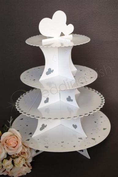 Wedding 4 Tier Silver and White Gloss Cardboard Cup Cake Stand - Wedding Wish Image 1