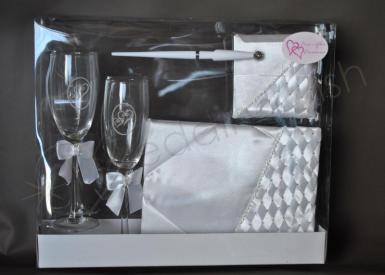 Wedding Woven Diamante Box Set - Glasses Guest Book and Pen - Wedding Wish Image 1