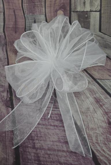 Wedding Large White  Organza Pull String Pew Bows x 12 - Wedding Wish Image 1