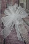 Large White  Organza Pull String Pew Bows x 12 image