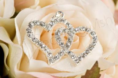 Wedding  Double Hearts Diamante Mini Charm Image 1