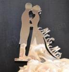 Mr and Mrs Silhouette Mirror Finish Cake Pick image