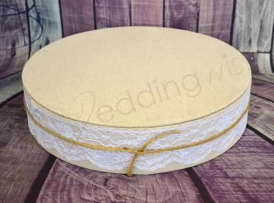 Wedding Rustic Burlap Look Cake Stand- 12 Inch - Wedding Wish Image 1