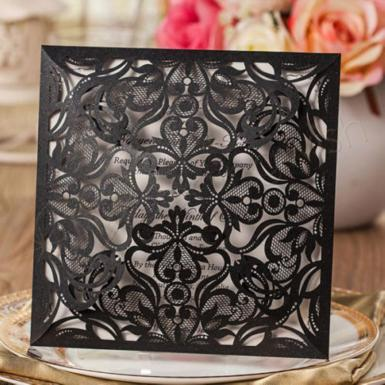 Wedding Vintage Lace Charcoal Wedding Invitations x 100 Laser Cut Invites - Wedding Wish Image 1