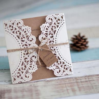 Wedding Rustic Lace Invitations  x 100 Laser Cut including printing - Wedding Wish Image 1