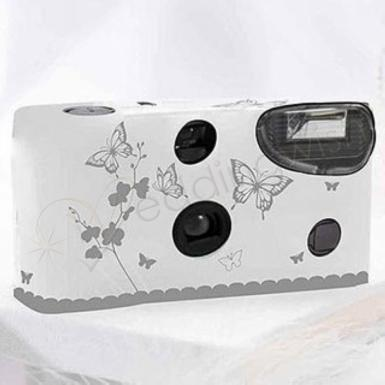 Wedding  Single Use Camera - Butterfly Garden White and Silver Image 1