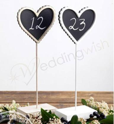 Wedding Blackboard Vintage Heart Table Number Stand - Natural or White - Wedding Wish Image 1