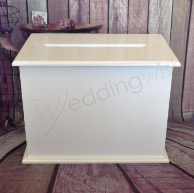 Wedding  White Rectangular Wooden Wishing Well Image 1