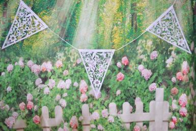 Wedding Bunting 8 metre Butterfly and Flower White - Wedding Wish Image 1