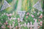 Bunting 8 metre Butterfly and Flower White  image