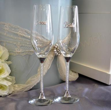 Wedding Crystal Stem Bride and Groom Champagne Flutes - Wedding Wish Image 1