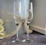 Crystal Stem Bride and Groom Champagne Flutes image