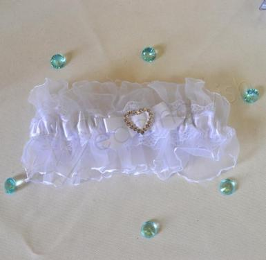Wedding  Diamante Heart Satin and Lace Garter Image 1