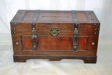 Wedding  Dark Wooden Treasure Chest - HIRE Image 1