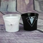 8 x Bride and Groom Shot Glasses / Wedding Tealight Holders image