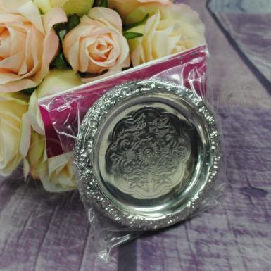 Wedding Bomboniere - round silver favour trays x 6 - Wedding Wish Image 1