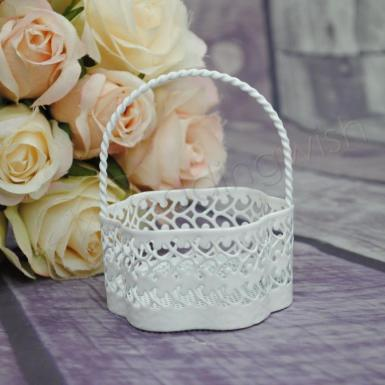 Wedding Bomboniere - white metal basket - Wedding Wish Image 1