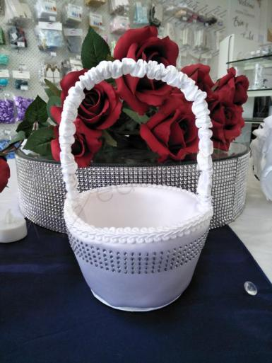 Wedding Flower Basket - White with Bling - Wedding Wish Image 1