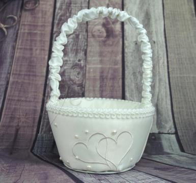 Wedding Flower Basket - Ivory Heart - Wedding Wish Image 1