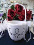 Flower Basket - White with Mini Black Stones image