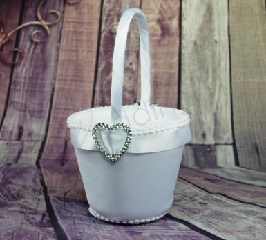 Wedding Flower Basket - Diamante Heart Bling - Wedding Wish Image 1