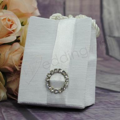 Wedding Gift bag - White with Diamante Circle - Wedding Wish Image 1