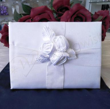 Wedding Guest Book - White Roses Wedding Guest Book - Wedding Wish Image 1