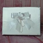 Guest book - White Satin Rose Ribbon with Pearls image