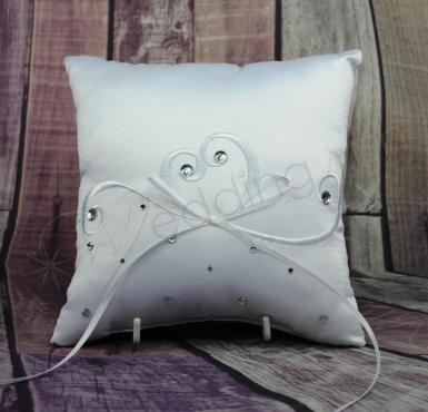 Wedding Ring Cushion - White Ring Pillow Embroidered Heart with Bling - Wedding Wish Image 1