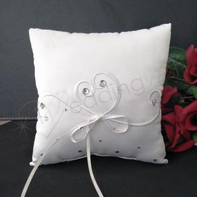 Wedding Ring Cushion - White Embroided Heart Pillow with Bling - Wedding Wish Image 1