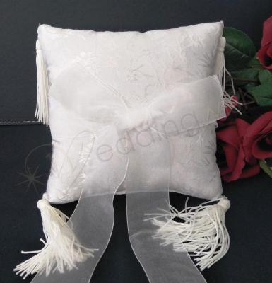 Wedding Ring cushion - White Ring Pillow Embossed with Tassle - Wedding Wish Image 1