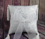 Ring cushion - White Ring Pillow Embossed with Tassle image