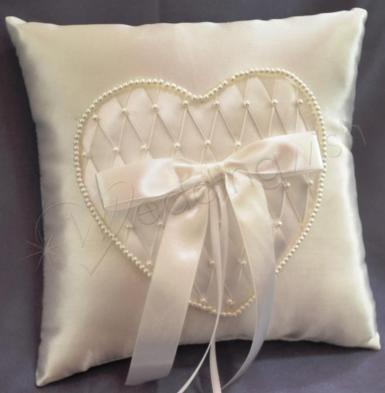 Wedding Ring Cushion -Ivory Ring Pillow with Beaded Heart - Wedding Wish Image 1