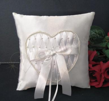 Wedding Ring Cushion - Ivory Ring Pillow with Beaded Heart - Wedding Wish Image 1