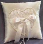 Ring Cushion -Ivory Ring Pillow with Beaded Heart image