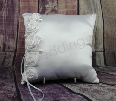 Wedding Ring Cushion - White Ring Pillow with Roses & Pearls - Wedding Wish Image 1