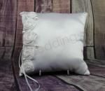 Ring Cushion - White Ring Pillow with Roses & Pearls image