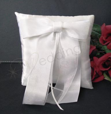 Wedding Ring Cushion - White Ring Pillow with Satin Bow - Wedding Wish Image 1