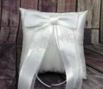 Ring Cushion - White Ring Pillow with Satin Bow image