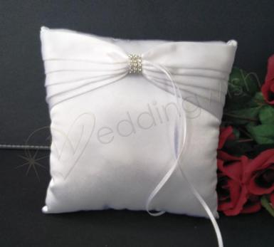 Wedding Ring Cushion - White Ring Pillow with Pleats and Bling - Wedding Wish Image 1