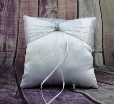 Wedding Ring Cushion - White Ring Pillow with Pleated Bow and Bling - Wedding Wish Image 1