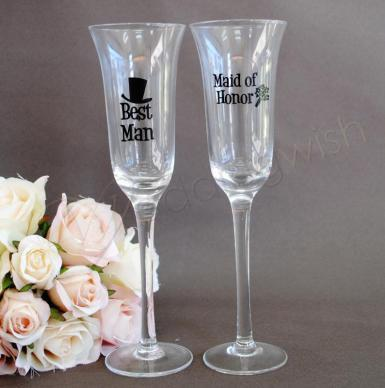 Wedding Toasting Glass - Best Man and Maid of Honor - Wedding Wish Image 1