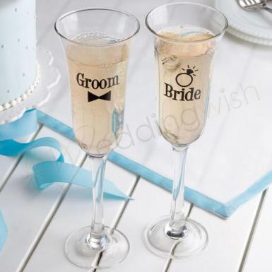Wedding Toasting Glass - Bride & Groom - Wedding Wish Image 1